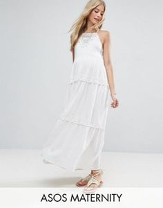 ASOS Maternity Maxi Dress with Lace Inserts and Pom Poms