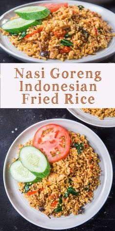 Nasi Goreng – Indonesian fried rice is one of our national cuisines. It has second place on the list of '50 Most Delicious Foods in the World' after rendang. Almost all foreign artists that come to Indonesia said their favorite food in Indonesia is nasi goreng. Even former President Obama ate this food when he visited Indonesia. Rice Recipes, Side Dish Recipes, Asian Recipes, Mexican Food Recipes, Dinner Recipes, Cooking Recipes, Healthy Recipes, Healthy Food, Vegan Food