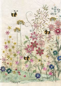 Make cards like: BugArt ~ Bee's Meadow. Amy's Cards *NEW* Original embroideries by Amy Butcher. Cards designed by Jane Crowther. Free Motion Embroidery, Hand Embroidery Stitches, Crewel Embroidery, Embroidery Applique, Cross Stitch Embroidery, Machine Embroidery, Embroidery Designs, Swedish Embroidery, Bordado Floral