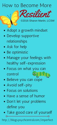How to be More Resilient by Sharon Martin, LCSW | via Psych Central--for therapists and clients