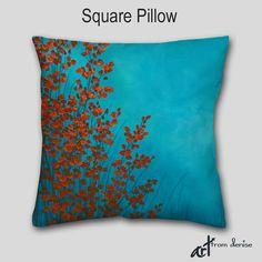 Abstract decorative throw pillows in red, teal, aqua, and turquoise blue by Denise Cunniff - ArtFromDenise.com. View more info at https://www.etsy.com/listing/260558246