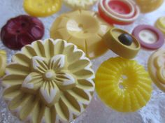 Vintage Buttons  Cottage chic mix of  mustard and by pillowtalkswf, $7.75