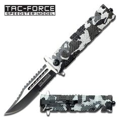 AO Snow Camo Tac-Force Rescue Knife. AO Snow Camo Tac-Force Rescue KnifeThis item has been discontinued by our supplier Assisted Opening Snow Camo, rescue knife All Metal Heavy Duty Rescue Knife Patterned Anodized Aluminum Handles Built in belt / line cutter, metal clip on back, window break on end High Carbon Steel Blade One Hand Opening for Left or Right hand Open Length: 8-3/4 Closed Length: 4-7/8 Blade Length: 4 100000915950