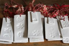 Air drying clay tags/decorations from Sania Pell at home. Love these!