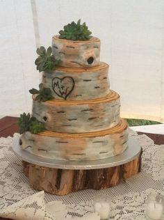 oh wow - this is .... something!   Fondant Birch Bark Wedding Cake
