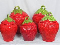 Strawberry Kitchen Canister Set of 5 Vtg Large Storage Set Look Handpainted Strawberry Patch, Strawberry Fields, Strawberry Shortcake, Red Kitchen, Vintage Kitchen, Ceramic Bread Box, Strawberry Kitchen, Strawberry Decorations, Vintage Canisters