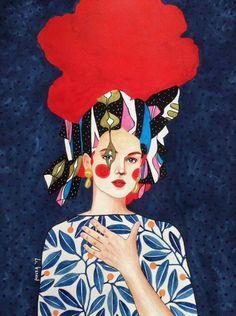 """the familiar unknown"" watercolour on paper) hülya özdemir ( Art And Illustration, Illustrations, Watercolor Illustration, Watercolor Art, Inspiration Artistique, Klimt, Portrait Art, Portraits, Banksy"