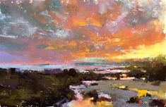 "Daily Paintworks - ""Coastal Sunset"" - Original Fine Art for Sale - © Jacob Aguiar"