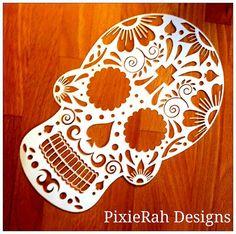 Gabarit de découpe de papier crâne de sucre par PixieRahDesigns