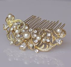 Gold Bridal Hair Comb, Vintage Wedding Gold Hair Comb, Ivory Pearl Bridal Hair Piece, Gold Bridal Hair Clip, ROCIO Gold by JamJewels1 on Etsy https://www.etsy.com/listing/243656754/gold-bridal-hair-comb-vintage-wedding