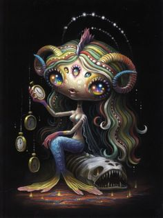 """Supersonic Art: Yoko D'Holbachie's """"The Alchemist"""" at Last Rites. Creepy Art, Weird Art, Lowbrow Art, Pop Surrealism, Psychedelic Art, Up Girl, Whimsical Art, Surreal Art, Pictures To Draw"""