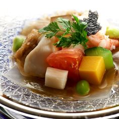 Chilled tomato with colouful vegetable jelly