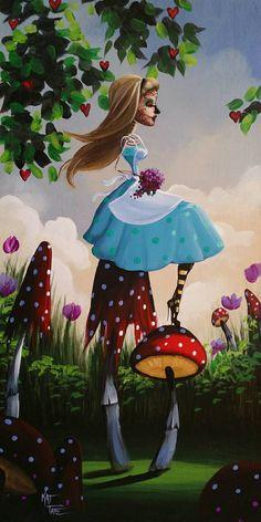 Day Of the Dead Alice In Wonderland Mushrooms Original by KatTatz