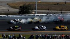 DAYTONA BEACH, FL - FEBRUARY 22:  Smoke pours from the #2 Miller Lite Ford, driven by Brad Keselowski, during the NASCAR Sprint Cup Series 57th Annual Daytona 500 at Daytona International Speedway on February 22, 2015 in Daytona Beach, Florida.  (Photo by Sean Gardner/Getty Images)