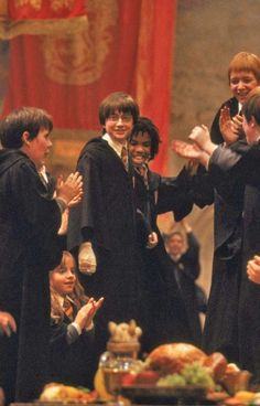 Harry Potter and the Sorcerers Stone. When you beat Voldemort you can stand on the table during dinner.