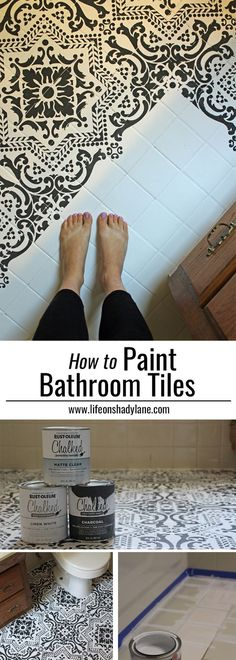 DIY: How to EASILY paint your tile floor for a budget friendly modern update! – … DIY: How to EASILY paint your tile floor for a budget friendly modern update! – Black and White Stenciled Bathroom Floor Painting Bathroom Tiles, Painting Tile Floors, Bathroom Floor Tiles, Painted Floors, Bathroom Black, Tiled Floors, Glass Bathroom, Bathroom Bin, Small Bathroom