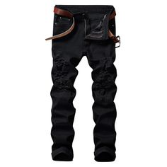 Zip Fly Straight Extreme Ripped Jeans Source by Extreme Ripped Jeans, Black Ripped Jeans, Skinny Jeans, Black Denim, Style Brut, Pantalon Long, Mens Fashion Wear, Jeans Fashion, Biker Fashion