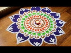 2 Quick and easy flower shaped rangoli designs using cookie cutters Rangoli Side Designs, Easy Rangoli Designs Diwali, Rangoli Designs Latest, Simple Rangoli Designs Images, Free Hand Rangoli Design, Small Rangoli Design, Colorful Rangoli Designs, Rangoli Ideas, Diwali Rangoli