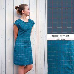Squares Indian Teal French Terry Lotte Martens Short Sleeve Dresses, Dresses With Sleeves, Oeko Tex 100, French Terry, T Shirts, Teal, Indian, Shirt Dress, Squares