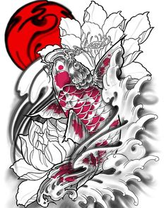 - Irezumi tattoos water & irezumi tattoos wasser & irezumi tatouages e - Japan Tattoo Design, Koi Tattoo Design, Sketch Tattoo Design, Tattoo Sketches, Tattoo Drawings, Tattoos Skull, Irezumi Tattoos, Leg Tattoos, Body Art Tattoos