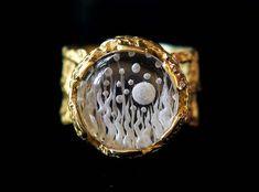 18k gold ring, intaglio ring, engagement ring, rock crystal ring, solid gold ring, handmade ring, greek jewelry, quartz ring, mystic ring.