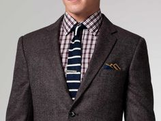 Tweed blazer and blue stripe tie