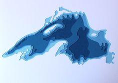 Lake Superior - 3D paper art - Marnie Krager