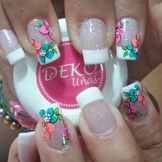 Cute Nail Art, Beautiful Nail Art, Gorgeous Nails, Pretty Nails, Flower Nail Designs, Nail Art Designs, Spring Nails, Summer Nails, Cruise Nails
