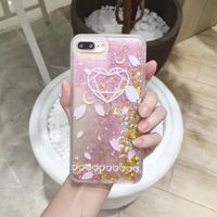 Love Heart Petal Pattern Phone Cases for iPhone 7 7Plus 6 6s Plus Bling Glitter Quicksand Star Love Heart Hard Back Case Cover