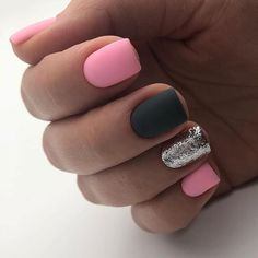 The Best Short Nail Art Designs for Summer 2019 – Page 30 – Top nail Silver Nails, White Nails, Pink Nails, Black Nail, Square Nail Designs, White Nail Designs, Nail Art Designs, Nails Design, Hair And Nails