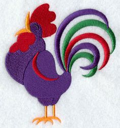Retro Rooster - Free machine embroidery design