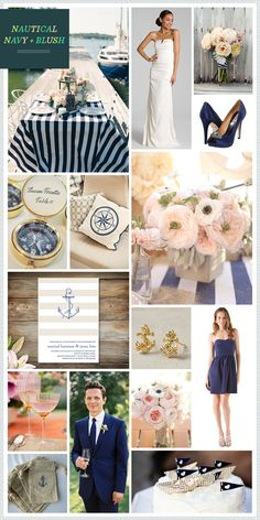Nautical Navy + Blush Wedding Inspiration @kaylinpodoll did I see you looking at nautical themes...this could be cool.