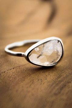 Rainbow Rutilated Diamond Slice by Melissa Joy Manning a humble, and quietly perfect stone.