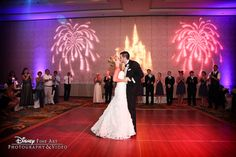 Firework and castle gobos lit up this ballroom reception at one #Disney #wedding