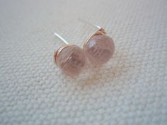 GEMSTONE Rose quartz stud earringssterling silver post by idooidoo, $18.00