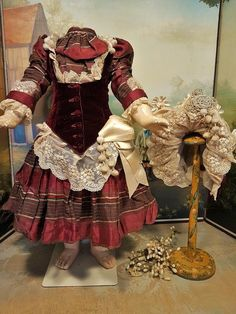 Outstanding one of a kind French Bebe costume with matching high brim bonnet for French or German doll   about around 24 / 25 ( 62 - 64 cm ) ....and