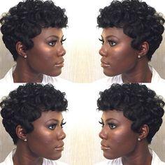 kurze Frisuren - Synthetic Short Wigs for Black Women African American Short Black Hair . Short Natural Haircuts, Short Black Hairstyles, Afro Hairstyles, Short Hair Cuts, Wedding Hairstyles, Pixie Cuts, Short Curls, Hairstyles 2016, Ladies Hairstyles