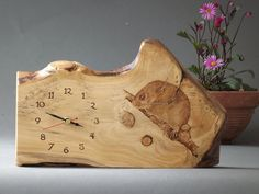 Wooden Clock Hand made Original drawing Made by AldaronWoodcrafts, Rustic Wall Clocks, Wood Clocks, Diy Clock, Clock Decor, Wood Burning Crafts, Wood Crafts, Small Woodworking Projects, Wood Projects, Reclaimed Wood Mirror