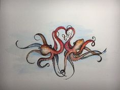Octopus painting Watercolor Octopus Octopus by SheilaShamelStudio Bff Tattoos, Couple Tattoos, Future Tattoos, Body Art Tattoos, Octopus Painting, Octopus Art, Octopus Tattoo Design, Octopus Tattoos, Piercings