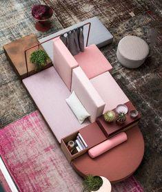 Le-canapé-ilot-une-autre-façon-d-aménager-son-salon-vue-dessus. Design Hotel, Home Design, Design Blog, Sofa Furniture, Outdoor Furniture Sets, Furniture Design, Geometric Furniture, Modular Furniture, Office Lounge