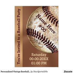 Personalized Vintage Baseball Party Supplies and Invitations. CLICK: http://www.zazzle.com/personalized_vintage_baseball_party_invitations-256394541922174221?rf=238012603407381242  Matching Baseball Postage Stamps and other vintage baseball party ideas and gifts  CLICK: http://www.Zazzle.com/YourSportsGifts  CALL Rodney or Linda: 239-949-9090