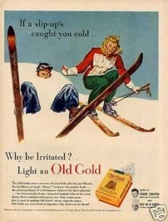"""Old Gold Cigarettes Ad """"If a Slip-up's... (1946) claiming smoking relaxes you"""