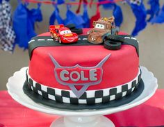 Lightning McQueen Cars birthday party cake! See more party ideas at CatchMyParty.com!