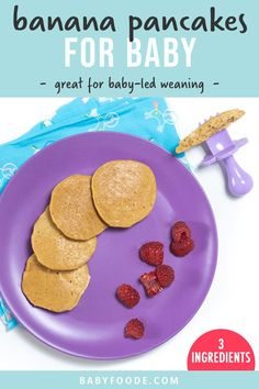 Banana Pancakes are an easy and quick breakfast, lunch or snack for baby! Made with only 3 simple ingredients - banana, egg and flour, yet these pancakes are fluffy, soft and perfect for baby, baby-led weaning and toddlers! 6 months and up! #homemadebabyfood Healthy Toddler Breakfast, Baby Breakfast, Toddler Snacks, Breakfast Recipes, Baby Led Weaning First Foods, Weaning Foods, Baby First Foods, Baby Puree Recipes, Baby Food Recipes