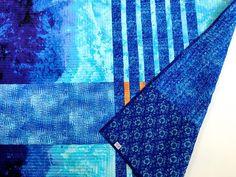 Geometric Art Quilt Blue Aqua Orange Fabric Wall Hanging | Etsy