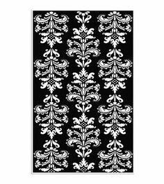 Mini Damask Black And White Rug