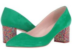 Kate Spade New York Milan (Emerald Green Kid Suede/Multicolor Stone) Women's Shoes