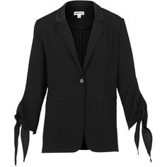 Whistles Tie Cuff Jacket, Black (€68) ❤ liked on Polyvore featuring outerwear, jackets, whistles jacket, light weight jacket, evening jackets, short jacket and lightweight jackets