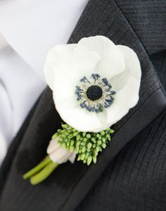 Anemone seeded eucalyptus boutonniere for groom