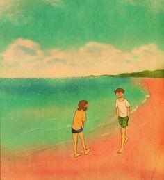 'Pink beach, Komodo Island, Indonesia' Art Print by Love Illustration, Romantic Art, Beach Drawing, Romantic Anime, Puuung Love Is, Funny Caricatures, Love Drawings, Art, Love Art